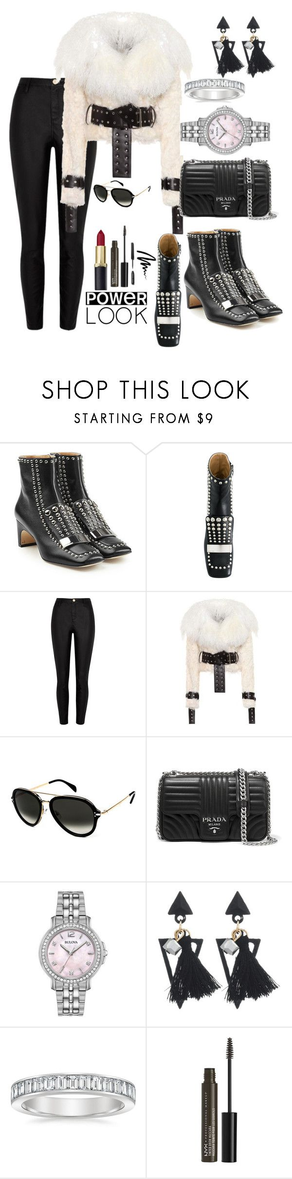 """Stony"" by lmarieee ❤ liked on Polyvore featuring Sergio Rossi, River Island, Monse, CÉLINE, Prada, Bulova, NYX and Bobbi Brown Cosmetics"