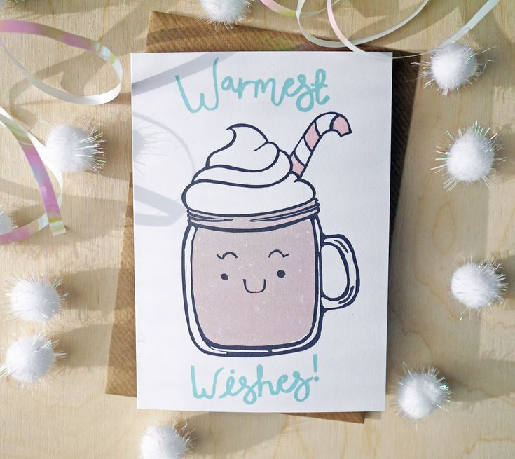 Warmest wishes cute hot chocolate lino print Christmas card
