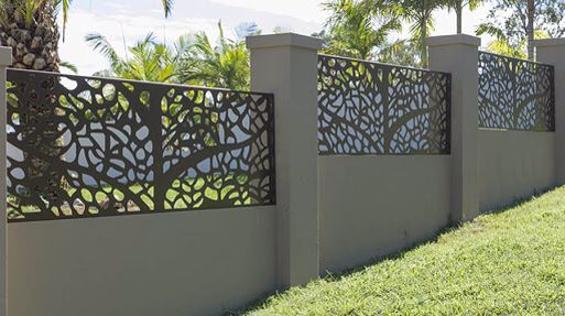 Screen and block rendered fence.