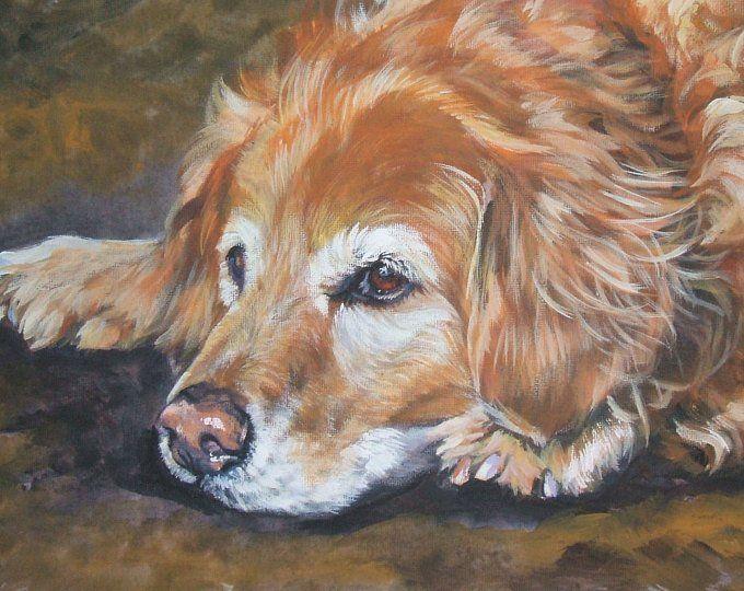 Golden Retriever Hund Portrat Kunstdruck Von La Shepard Etsy Golden Retriever Kunst Hunde Gemalde Hund Portraits