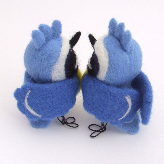 Punky Blue Tit Needle Felted Bird Blue Tit Wild by feltmeupdesigns