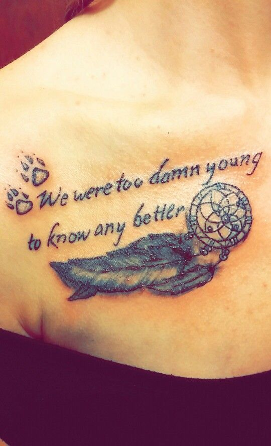 On my right collar bone :) i want to add a little bit of blue to the feathers when it heals #quote #tattoo #dreamcatcher
