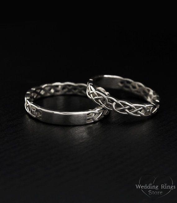 Celtic wedding Bands Keltische Ringe Set paar Ringe Silber