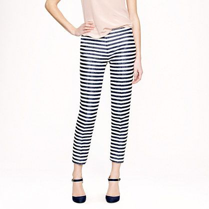 J.Crew - Collection raffia stripe pant in Navy / Ivory