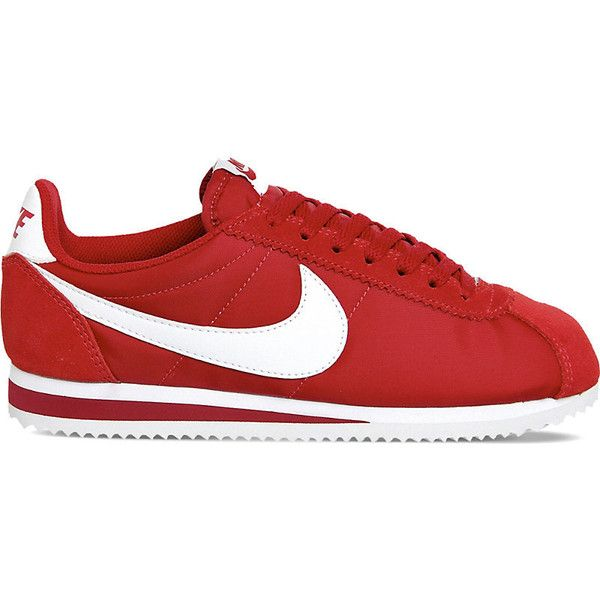 Nike Cortez suede and nylon trainers (£55) ❤ liked on Polyvore featuring shoes, sneakers, white suede shoes, nike, rubber sole shoes, grip trainer and red trainers