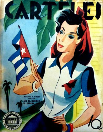 Cuba  Carteles, edicion 25 de febrero 1945, Revista cubana Carteles - Vintage Cuban magazine in Spanish, published in Cuba - Edition: February 7, 1945. Interior pages in excellent condition, parts of cover is missing, stain and...