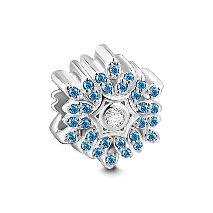 JewelleryQueen 925 Sterling Silver Snowflake Dangle Beads Sale Fit Pandora Bracelets M58Oaa