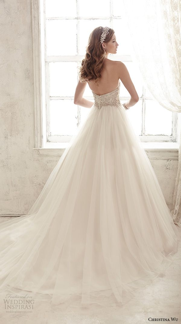 christina wu wedding dresses 2015 strapless sweetheart neckline embroidered bodice tulle skirt gorgeous ball gown wedding dress 15583 back view