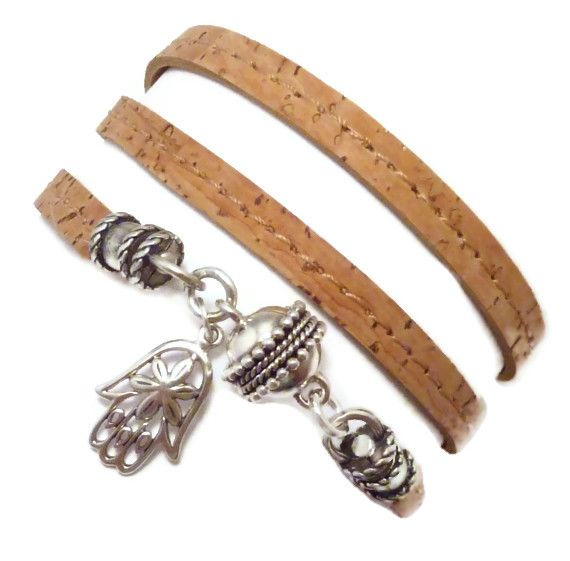 Cork Wrap Bracelet with Sterling Hamsa, $63.00
