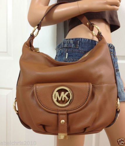 Michael Kors Fulton Leather Large Shoulder Hobo Bag 14