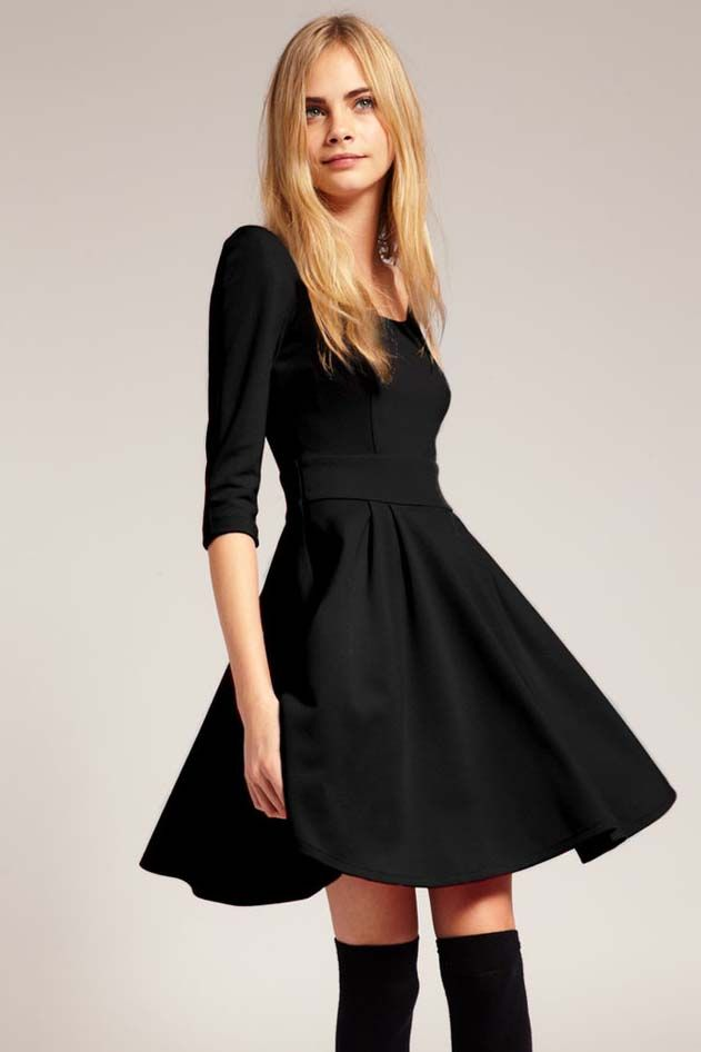 In the sleeve pleated show thin waist dress(2 colors)_party dress_Dresses_CLOTHING_Voguec Shop