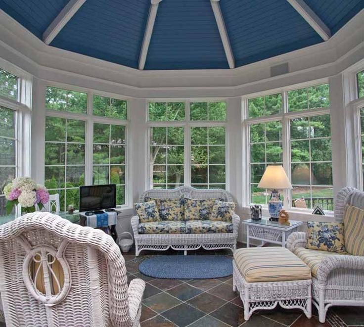 Sunroom The blue ceiling is just fabulous