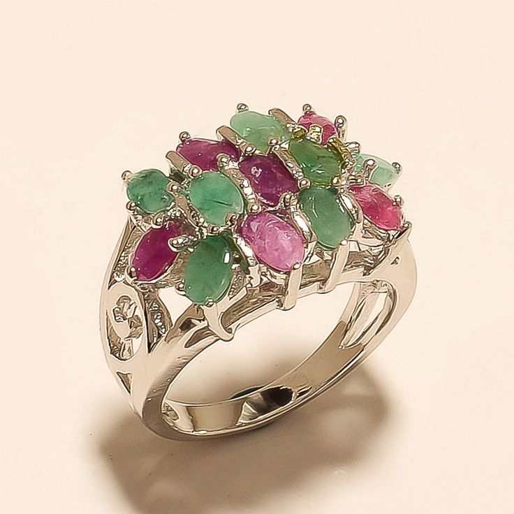 Natural Zambian Emerald Burmses Ruby Ring Sterling Silver Wedding Fine Jewelry #Boho