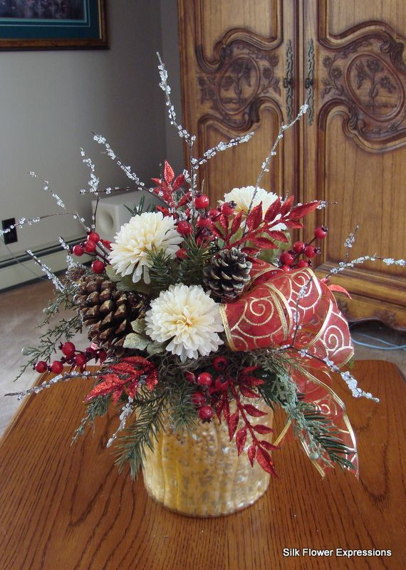 Best images about christmas silk flower arrangements on