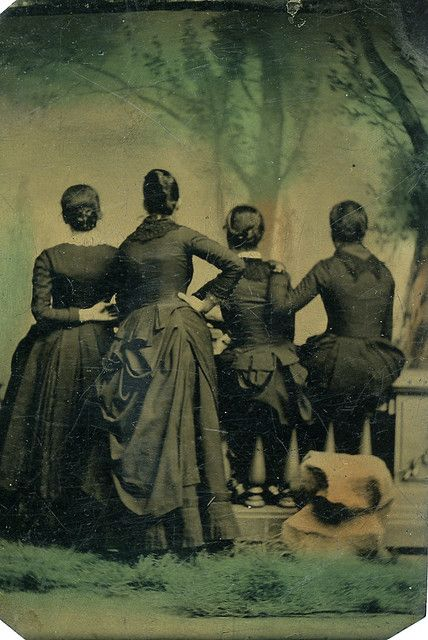 Throughout the Victorian era one sometimes encounters portraits that were taken of the back of peoples' heads, such as this one of four lovely ladies. I'm very glad such photos were captured because they allow us to see what hairstyles and fashions of the day looked like from the back (instead of just the front). #women #portrait #Victorian #1800s #vintage #19th_century