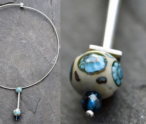 Béžovo-modrý náhrdelník