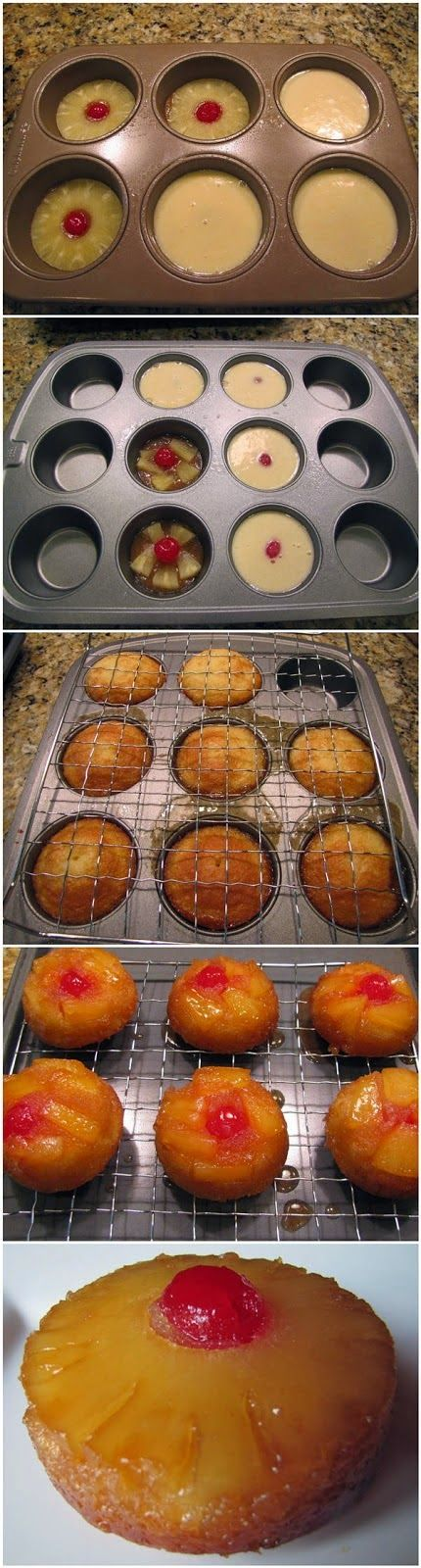 Mini Pineapple Upside Down Cakes ~ Freshdreamer