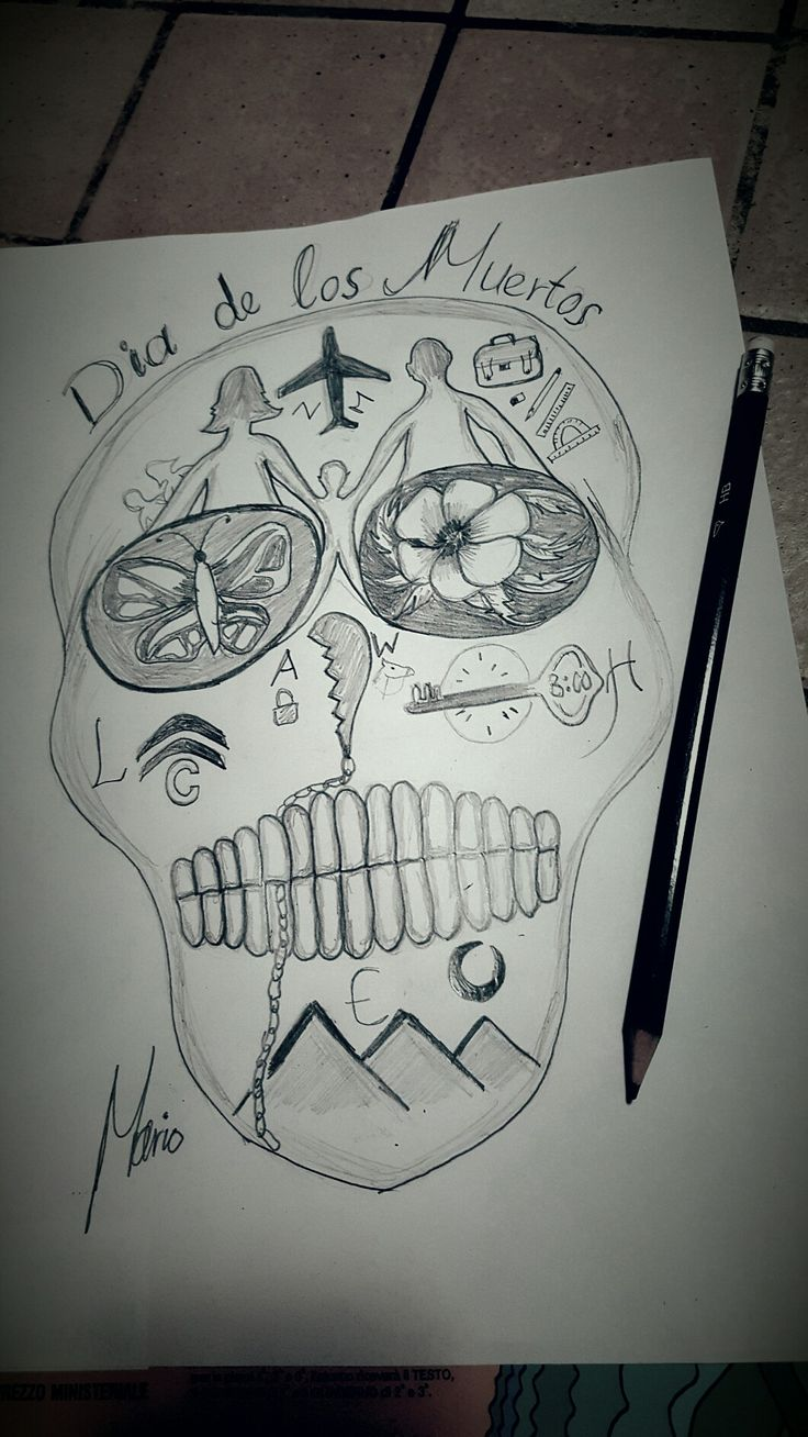 I decided to draw the sugar skull after reading it's strange story !! A lot of alive dead people on my personalized mexican skull .