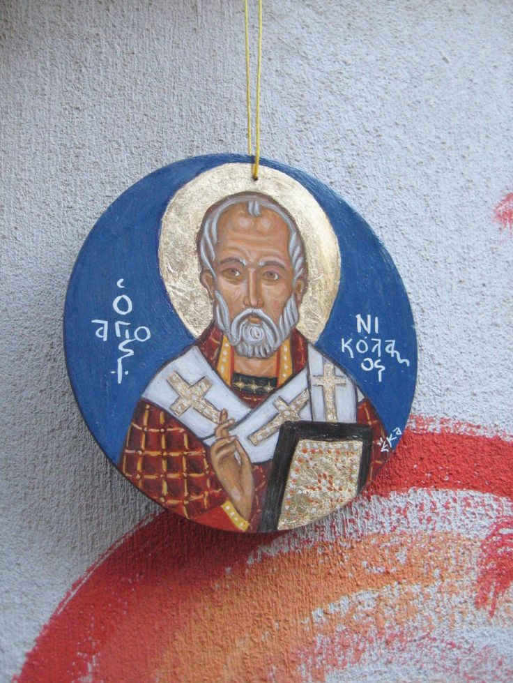 Byzantine religious icon of St Nicholas of Myra- Round ornament in blue background and golden halo