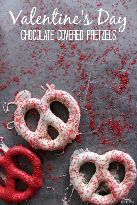 Valentine's Day chocolate covered pretzels.
