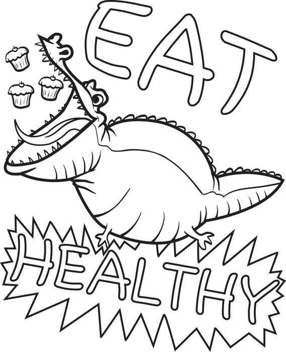 Free, Printable Eat Healthy Alligator Coloring Page for