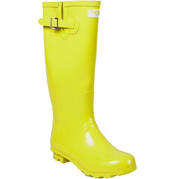 Forever Women's Yellow Gold Mid-calf Rubber Rain Boots (Yellow- 11)... ($47) ❤ liked on Polyvore featuring shoes, boots, zapatos, yellow, rain boots, pull on boots, wellies boots, yellow rain boots and fleece-lined boots