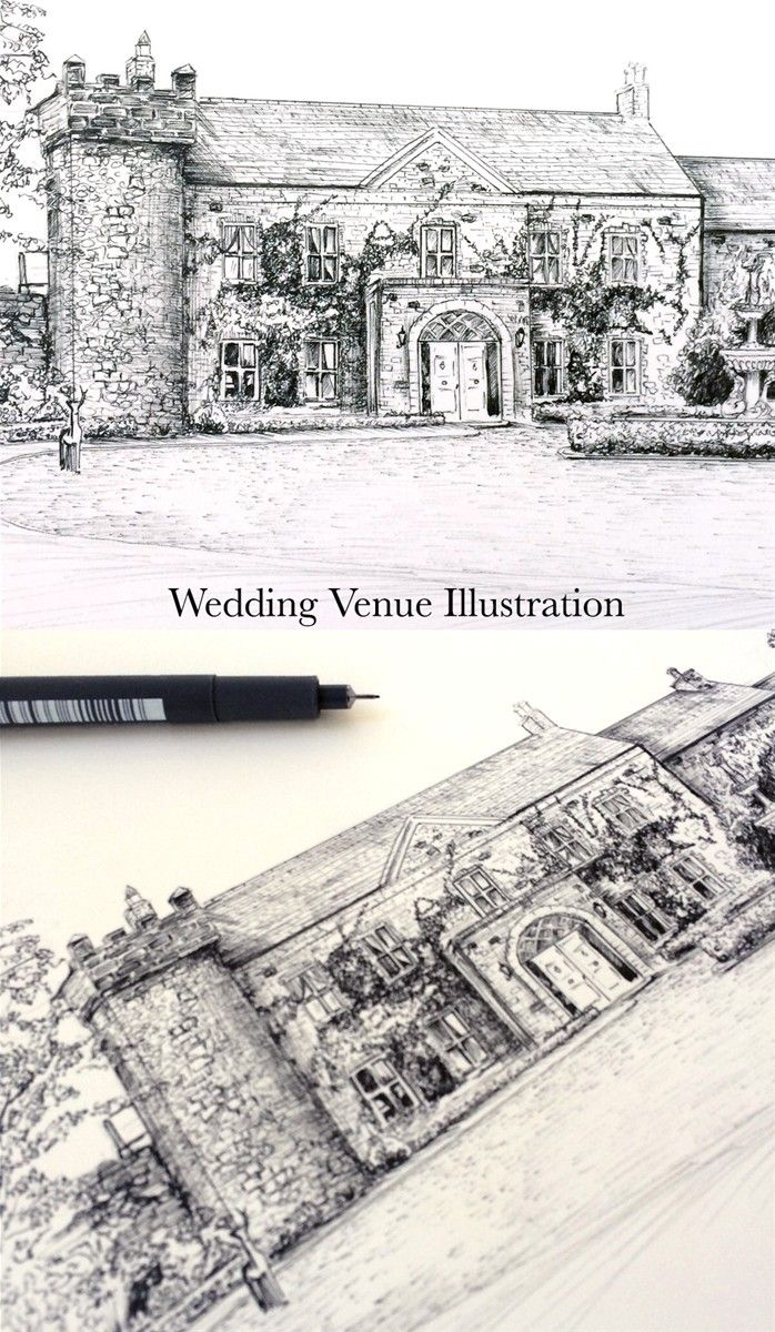 Ballymagarvey Venue Illustration . Wedding Stationery from Appleberry Press