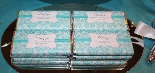 Custom made chocolate bars - teal damask design for weddings