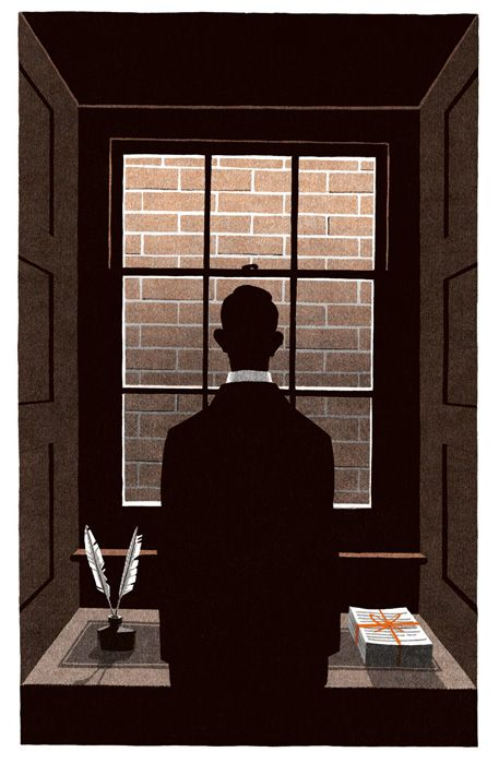 """""""Bartleby the Scrivener"""" (2012) by Bill Bragg. Illustration for the Folio Society edition of """"The Complete Shorter Fiction"""" (2012) by Herman Melville."""