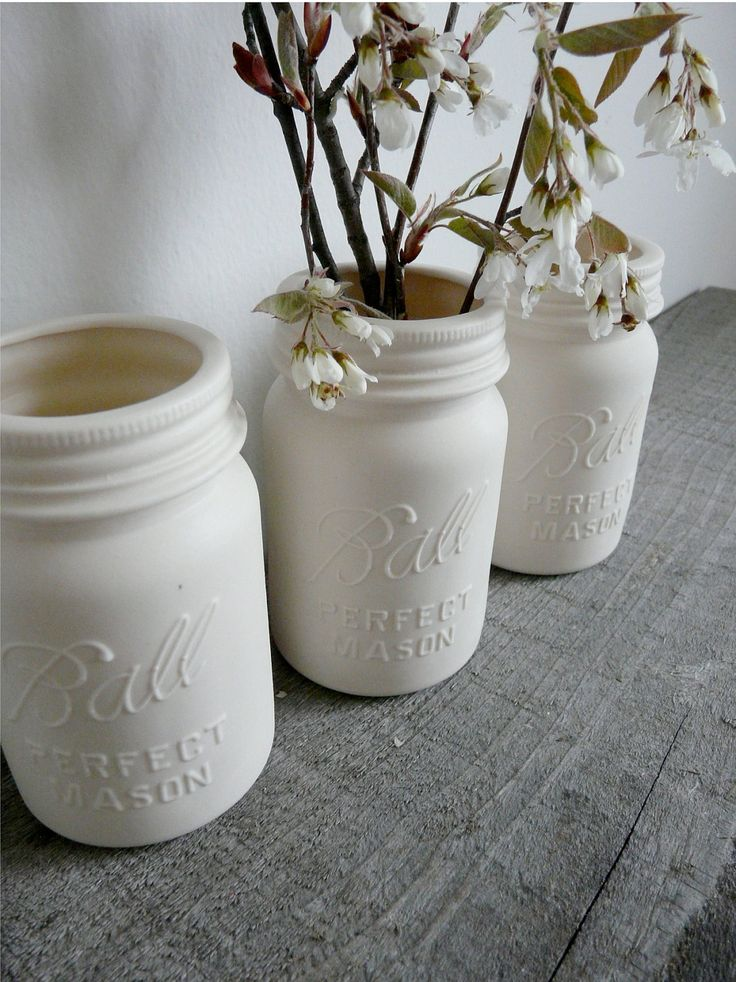 Porcelain Mason Jar Vase, Ball Perfect Mason. $25.00, via Etsy...  Or just spray paint some white!  Love this look!: Paintings Mason Jars, Ball Jars, Porcelain Vase, Paintings Vase, Ball Mason Jars, Ball Perfect, Porcelain Mason, Mason Jars Vase, Mason Jars Projects