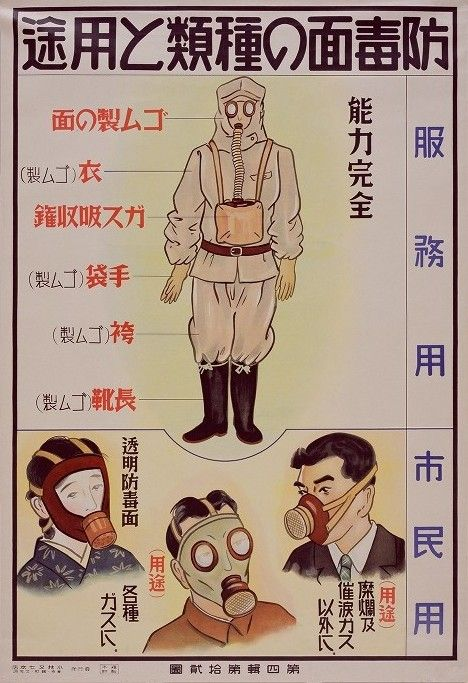 The Japanese Red Cross [1938] created a series of public safety posters… http://pinktentacle.com/2009/02/gas-attack-vintage-air-raid-defense-posters/