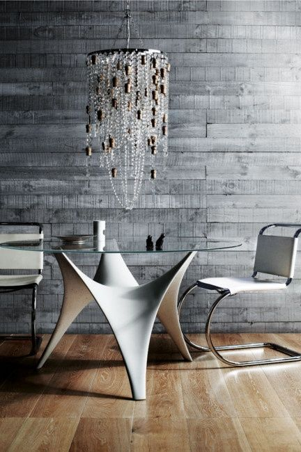 The base of this glass topped table makes quite a statement.
