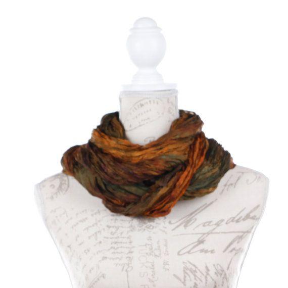 Earth boho scarf / girlfriend gift scarf / Brown silk scarf