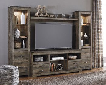 Item Description: Trinell TV stand with fireplace option makes home on the range look so alluring. The aesthetic is earthy yet clean and sophisticated, with a rustic finish, plank-style details and na