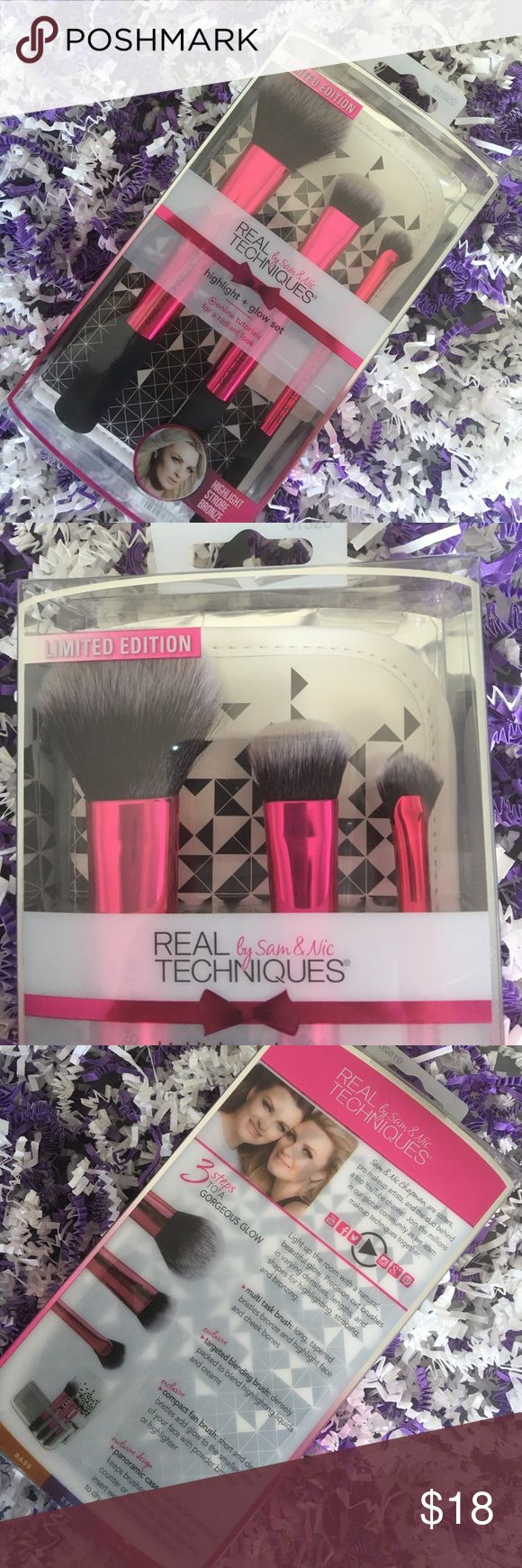 Real Techniques Highlight & Glow Set Real Techniques Highlight and Glow Limited Edition Set. This set features brushes, multi task brush, blending brush, and compact fan brush. These are brand new in box, never opened or used. Real Techniques Makeup Brushes & Tools