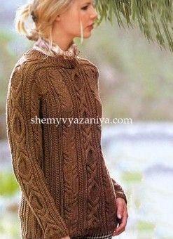Пуловер сочетанием кос