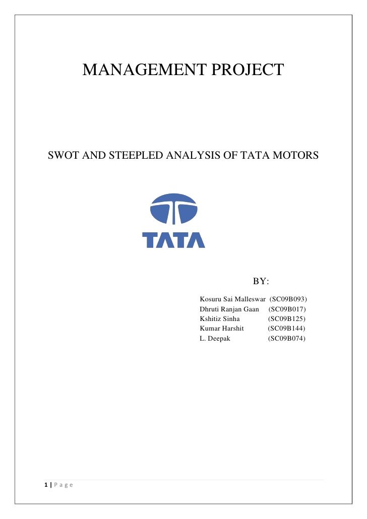 MANAGEMENT PROJECTSWOT AND STEEPLED ANALYSIS OF TATA MOTORS                                     BY:                      K...