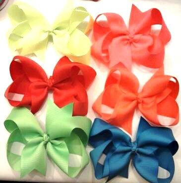 Neon Hair Bow Set  Children's Hair Bows  Set of by CCSBOWTIQUE2010