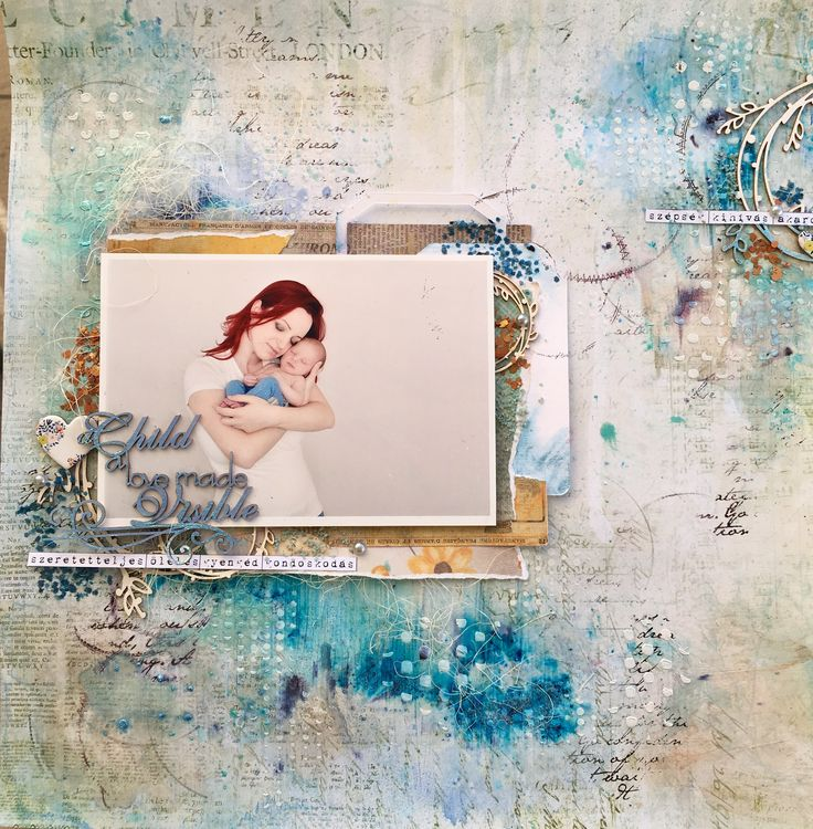 Mixed media page about my little boy - 13arts, Scrapiniec products
