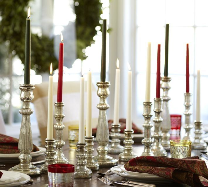 Holiday Table Centerpieces Silver Decoration | Candle Lights Runner Table Decorating Ideas on Nice Classic Silver ...