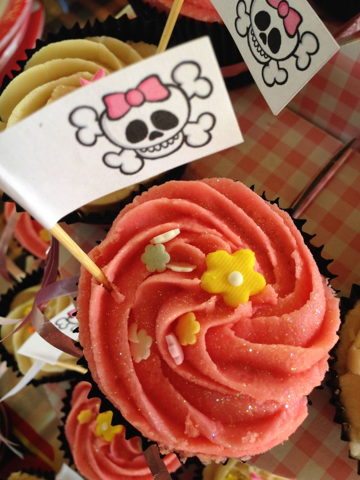 close up of pirate cupcake