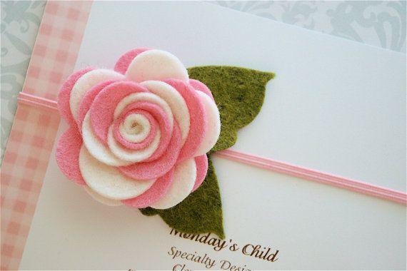 Felt Flower Headband Newborn Baby Headbands to by MyMondaysChild