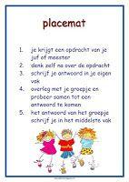 poster werkvorm 'placemat' lesmateriaal en andere onderwijstips van juf Jantine