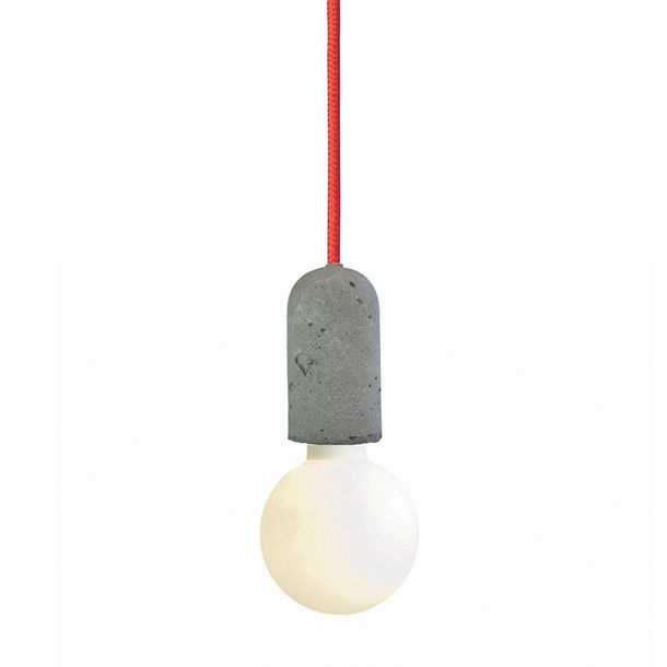 Concrete Socket Lamp with Red Cord