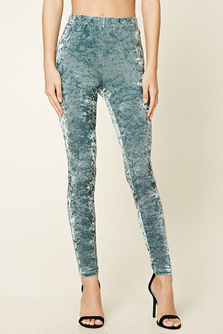 A pair of crushed velvet leggings featuring an elasticized waist Matching crop top available