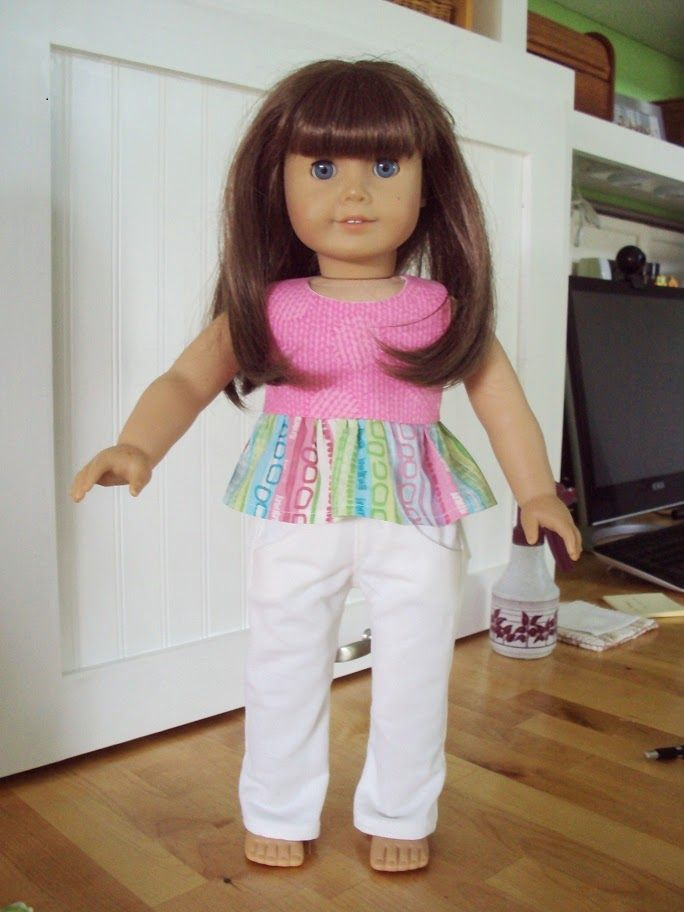 "Free halter top pattern for American Girl or other 18"" dolls."