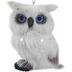 White,Gray and Blue Woodland Right Facing Owl Christmas Ornaments 3''