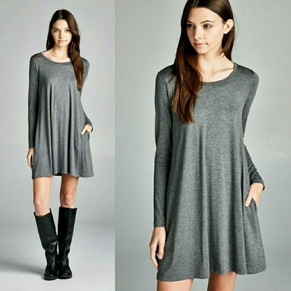 """Coming soon!  """"ABBY"""" Long sleeve round neck dress Loose fit, long sleeves, round neck dress.  Has pockets at side seams. Telemetrie Dresses Long Sleeve"""
