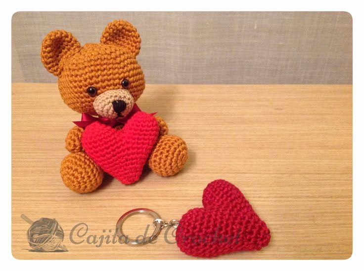 oso amigurumi llavero san valentin