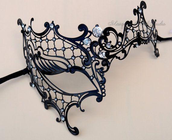 Black  Masquerade mask Luxury Venetian by MasquerademaskStudio, $43.90